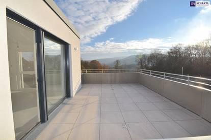 Dieser Fernblick ist malerisch! Perfekt geplanter Drei-Zimmer-Erstbezug mit über 35 m² Freifläche! PROVISIONSFREI!