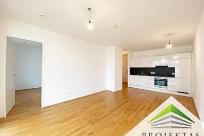 Moderne hofseitige 2 Zimmer-Neubauwohnung mit Loggia und Küche