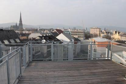 Penthouse-Büro mit spektakulärer Dachterrasse - Arbeiten über den Dächern von Linz!