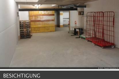 Lager im Untergeschoss, großer Lastenlift mit Anlieferbereich, bei Bedarf Büroräume