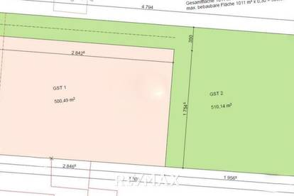 Zwei Baugrundstücke in Tribuswinkel ca. 500 und 510 m²