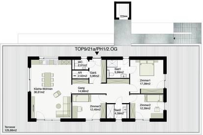 Echte Penthousewohnung mit ca. 126m² Terrassenfläche! Bestlage nähe Therme!