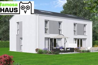 Ziegelmassive Doppelhaushälfte: 102m² Wohnfläche, 55m² Keller, Sonnenterrasse und Eigengrund.