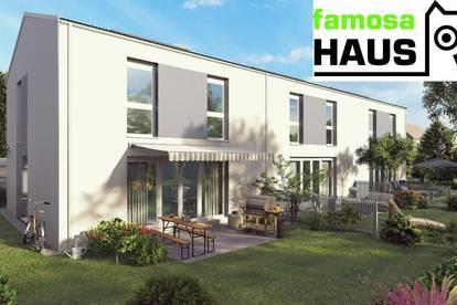 Bestpreis: ziegelmassives Reihenhaus, vollunterkellert mit Terrasse und Sonnengarten samt Parkplatz (Eigengrund).