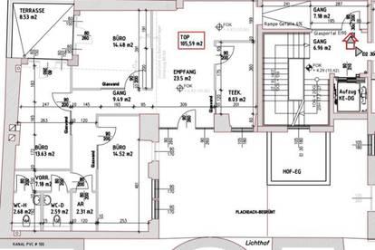 Nächst Servitenviertel/Lycée: Gestaltbares Büro mit Freifläche + Lift im barriere-frei zugänglichen sanierten Altbau in Wien 9