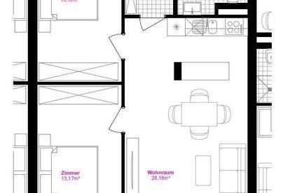 Moderne 3-Zimmer-Wohnung mit Komplettküche