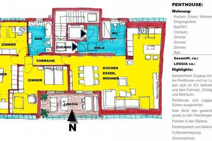 schlüsselfertige PENTHOUSE-DACH-Terrassenwohnung mit Loggia in Sooß / Baden bei Wien