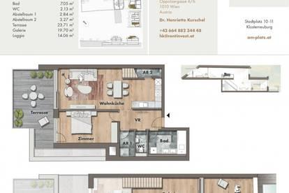 Urban Living: Galeriewohnung mit 2 Zimmern, Terrasse und Loggia!