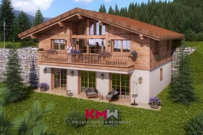 Ankündigung! Projektiertes Neubau-Chalet mit Zweitwohnsitz-/Freizeitwohnsitzwidmung in sonniger Aussichtslage. Nähe Zell am See - Kaprun