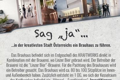 Ausschreibung vom BRAUHAUS der Linzer Bier Brauerei in der Tabakfabrik Linz