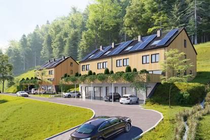 Bei Bregenez, neues großzügiges Eckreihenhaus aus Vollholz mit großem Garten und Wiese