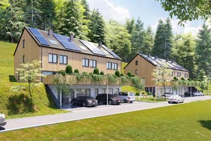 Nähe Bregenz, Vollholzreihenhaus (6 Zimmer) mit Veranda, Terrasse, Blumenrabatten und Wiese