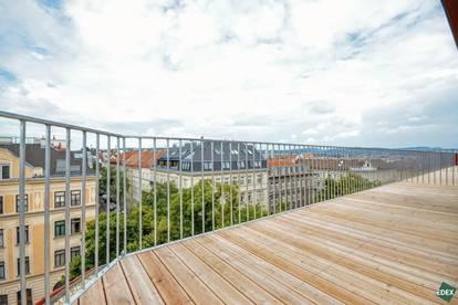 Unbefristet: Exklusive 2-Zimmer-Dachgeschoßwohnung mit 2 Terrassen