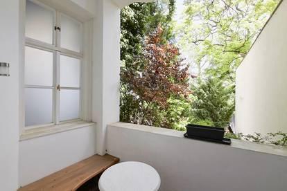 Bestlage beim Wertheimsteinpark! Repräsentatives 5-Zimmer-Stilaltbau-Büro auf zwei Ebenen mit Grünblick-Loggia und Garten