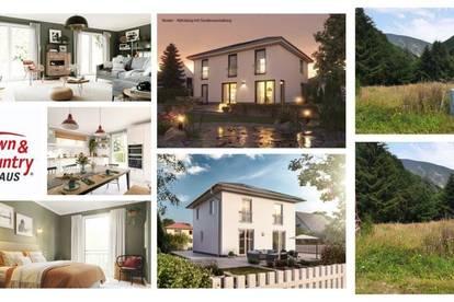 Nahe Wiener Neustadt - Schlüsselfertiges TC-Ziegelmassivhaus mit Fußbodenheizung & Keller und Hanggrundstück mit Aussicht