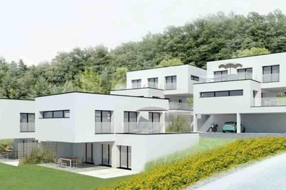 Modernes Terrassenhaus in ländlicher Idylle und doch in Stadtnähe