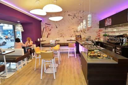 Schön ausgestattetes Café in gut frequentierter Lage