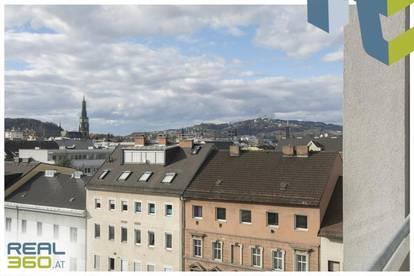 Aussicht auf den Pöstlingberg - 2-Zimmer-Wohnung mit möblierter Küche zu vermieten!
