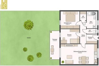 Gartenwohnung | 3-Zimmer | Parkplatz | unbefristet | provisionsfrei
