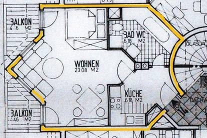 Wohnzimmer - Küche - Bad und 2 Balkone in Steinach zur Miete