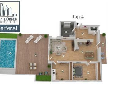 Privatpool, Riesenterrasse! Großzügige Ferienwohnung! TOP Immobilie in Velden´s Zentrum! 3-Zimmer!