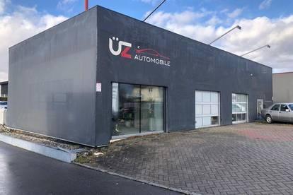 Werkstatt mit Büros, Verkaufsfläche und Parkplätzen zu Vermieten