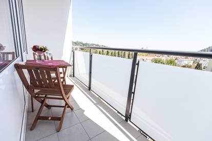 Möbliertes Apartment mit Balkon und Stadtblick in Grazer Bestlage, provisionsfrei, inkl. WIFI, aller BK, ab 3 Monate +