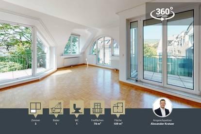 Phantastische 3-Zimmer Wohnung mit 78 m² Dachterrasse | 2 Balkone | Nähe U-Bahn Station Ober St. Veit