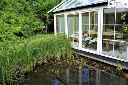 Naturbelassener Garten, großer Goldfischteich, Libellenparadies und unverbaubare Aussicht! RUHELAGE direkt am Naherholungsgebiet!
