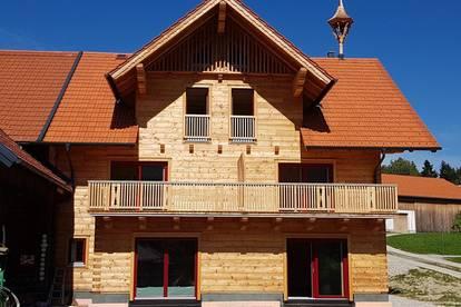 Sonnige Wohnung im Massivholz-Blockhaus