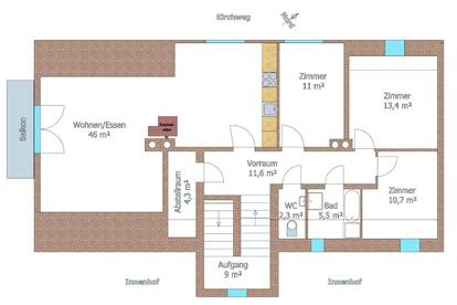 Sonnige Wohnung, 102 m² in Grünruhelage zu vermieten, WG tauglich