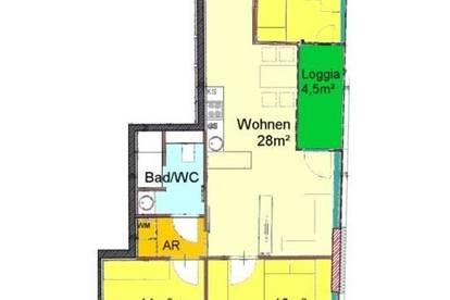Wohnstudio mit 3 Schlafzimmer + Loggia in zentraler Bestlage bei TU
