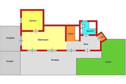 gefpflegte 2-Zimmer-Wohnung mit kleinem Garten, Terrasse und Stellplatz beim LKH