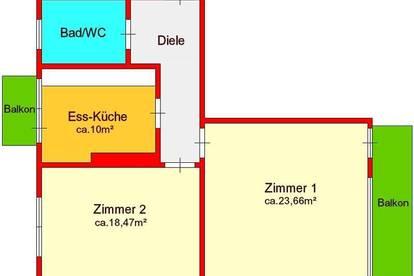 großzügige 2-Zimmerwohnung mit 2 Balkonen in Gösting