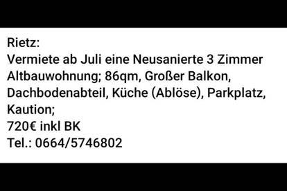 Wohnung in Rietz ab Juli zu Vermieten