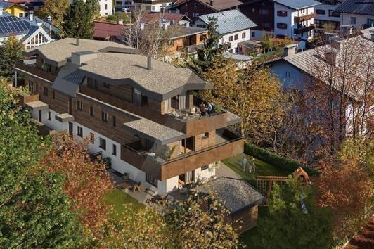 Neubauwohnungen mit Blick auf das Kitzbüheler Horn und den Wilden Kaiser