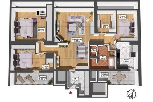 Helle Dachgeschosswohnung, 4 Zimmer im 22. Bezirk