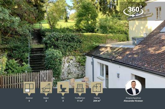 Außergewöhnliches Wohnen im Winzerhaus mit Garten   5 Zimmer   204m²   Sauna   Wohnhauscharakter