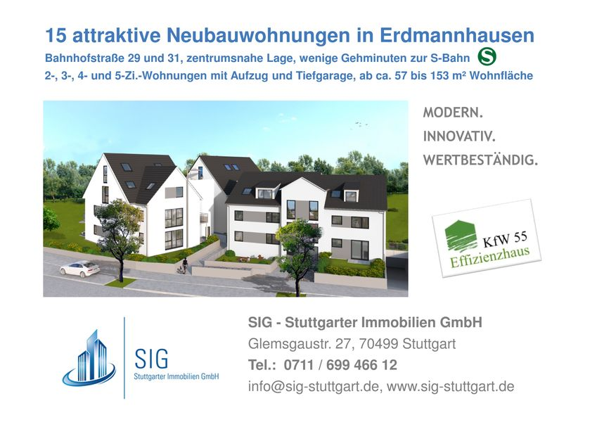 erdmannhausen bahnhofstra e 29 und 31 neubau von sig. Black Bedroom Furniture Sets. Home Design Ideas