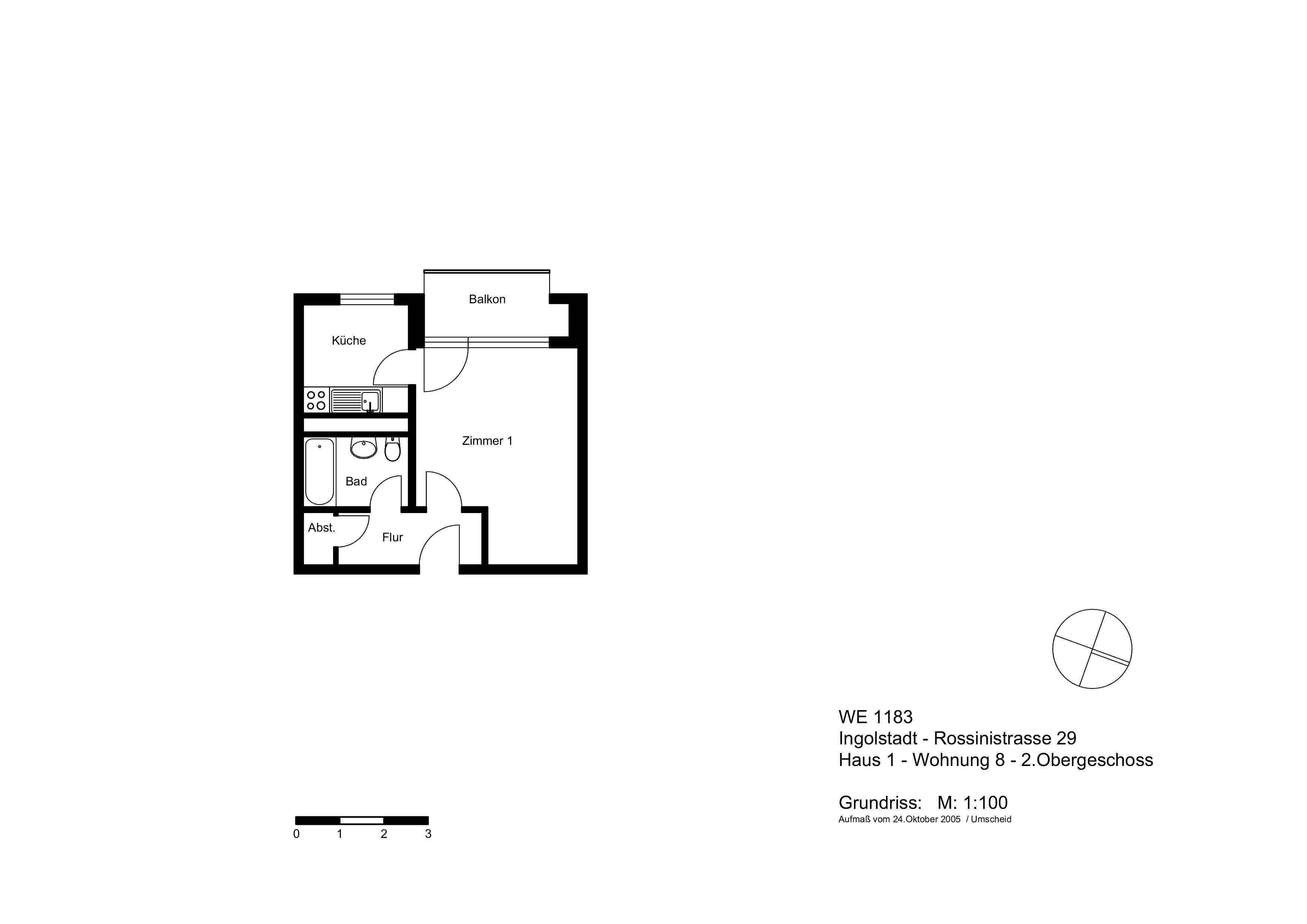 kleine, aber feine 1-Zimmer-Wohnung mit Kochküche und Balkon in Nordwest