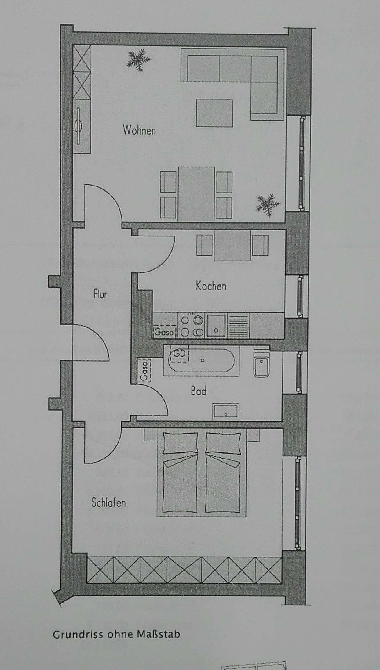 Stilvolle, gepflegte 2-Zimmer-Wohnung  mit Einbauküche in Würzburg