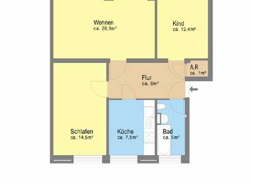 200EUR Gutschein geschenkt! 3 Zimmer, Balkon und Wannenbad !