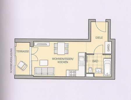 Neuwertige 1-Zimmer-Wohnung mit Garten in Unterschleissheim in Unterschleißheim