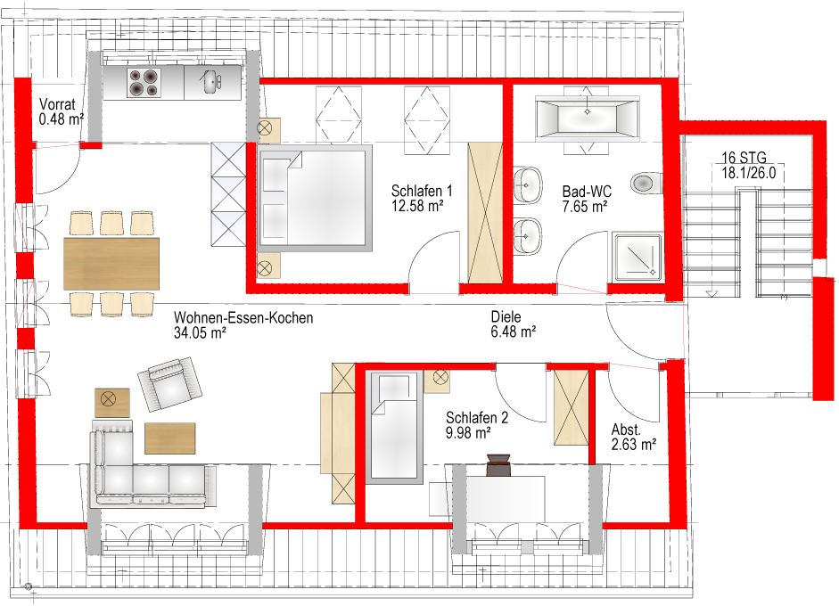 Stilvolle, neubau 3-Zimmer-Dachgeschosswohnung mit gehobener Innenausstattung in Wendelstein