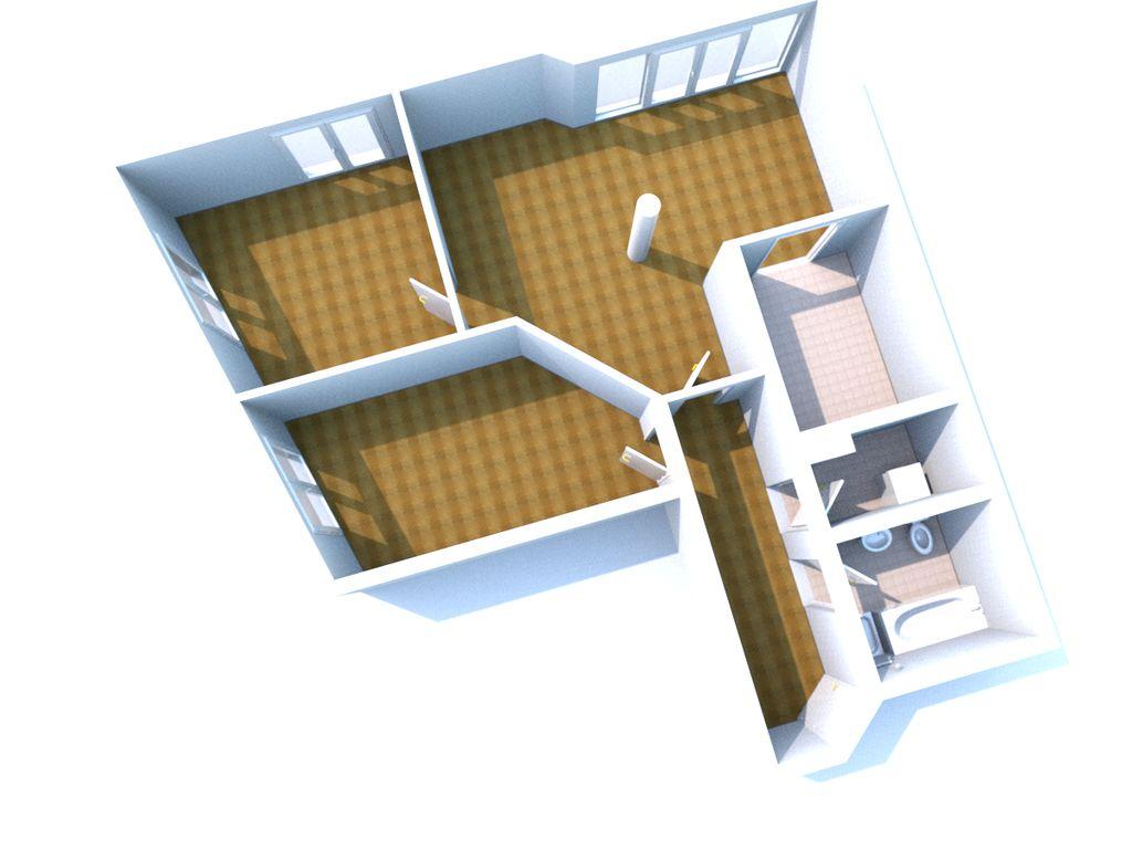 Raumaufteilung - 3 Zi ca 102m²