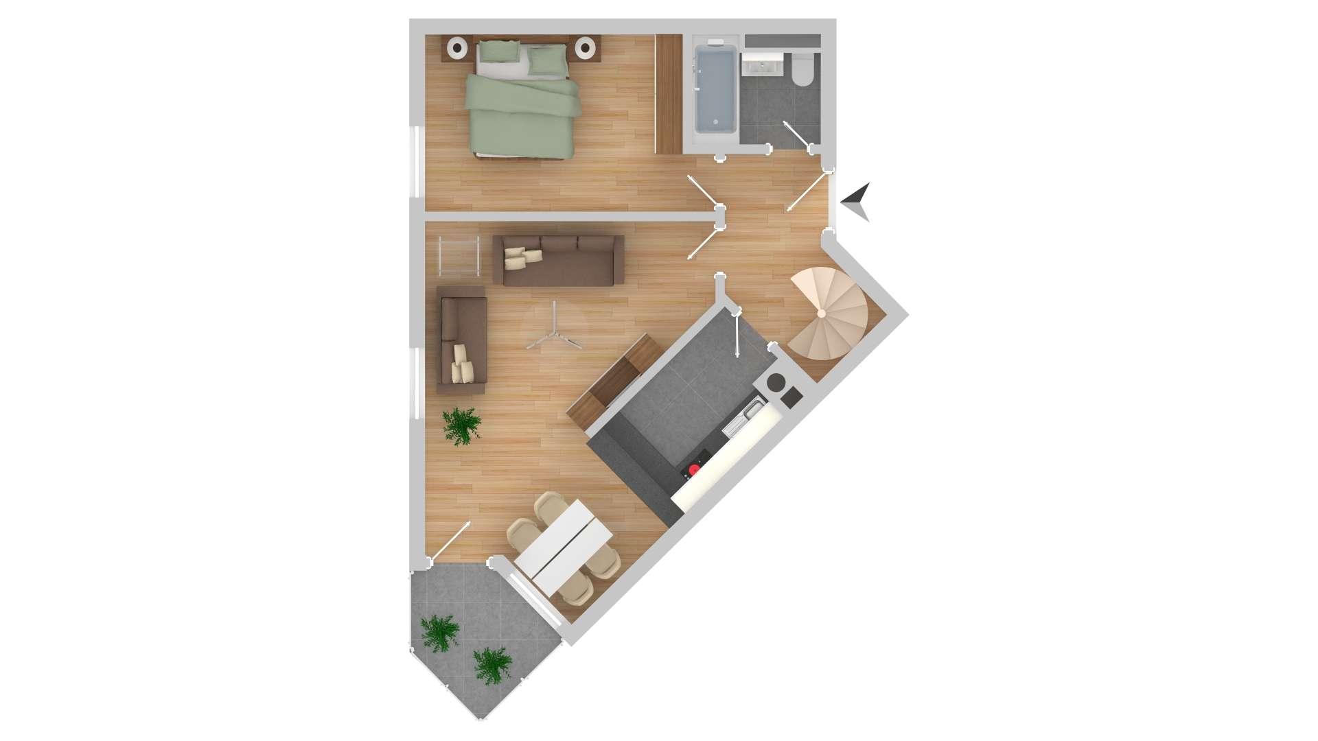 Helle 3-Zimmer Wohnung mit Balkon in Erding-Klettham in Erding