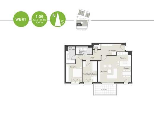 Moderne ca. 107,3 m² Wohnung mit offenem Wohn-Ess-Küchenbereich und Südbalkon!