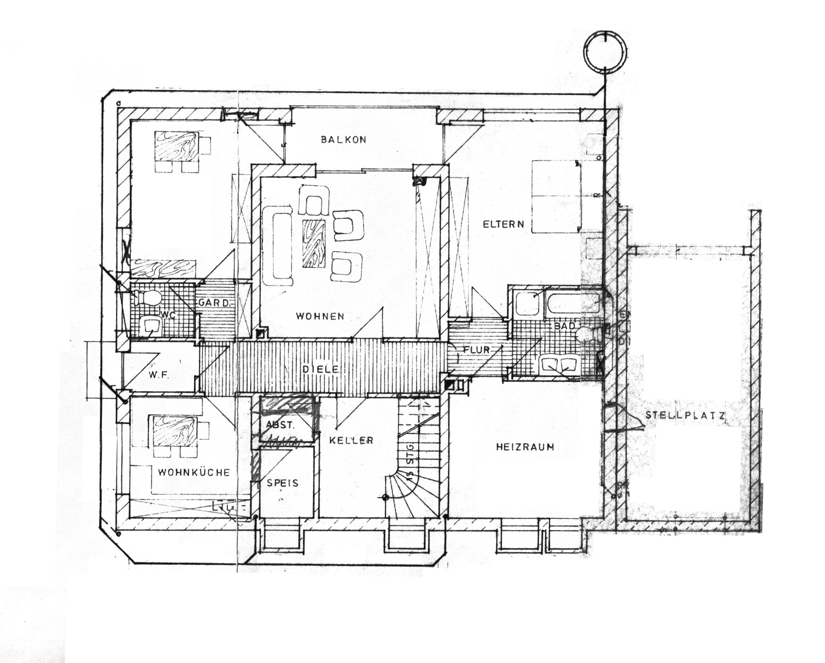 Gepflegte 3-Raum-EG-Wohnung mit Terrasse/Gartenanteil und Einbauküche in Wolnzach in