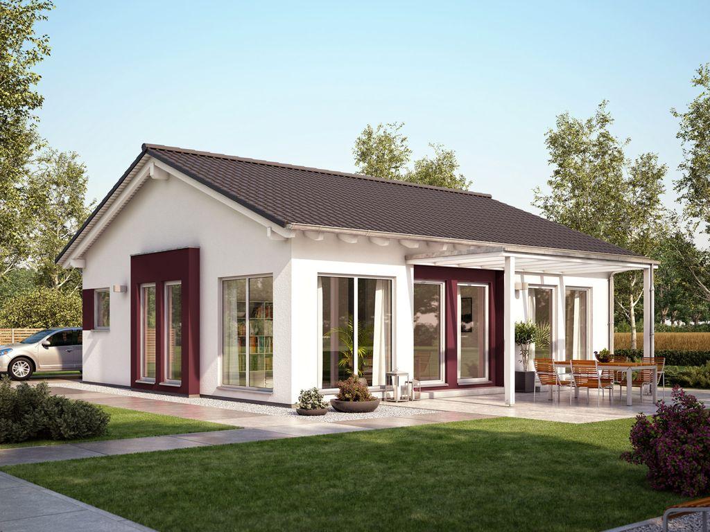 solution 78 v6 moderner satteldach bungalow mit erker und berdachter terrasse. Black Bedroom Furniture Sets. Home Design Ideas