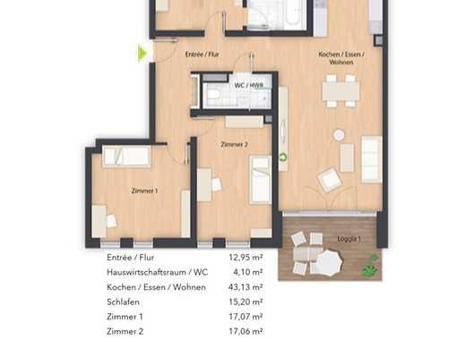 ERSTBEZUG mit EBK und 2 Balkonen: freundliche 4-Zimmer-Wohnung mit Blick auf Wiesengrund